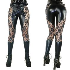 Leather And Lace Studded Leggings – Go Steampunk