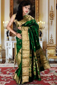 Exclusive #Bright green zari weaved saree with #golden saree border & bright #green zari weaved pallu to give you a ravishing look in #wedding