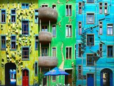 """A Wall That Plays Music When It Rains in Germany. According to Atlas Obscura, """"when the rain starts to fall, this colorful drain and gutter system attached to the outside of a building in the Neustadt Kunsthofpassage turn into charming musical instruments. The Funnel Wall is one of the strangest and most enjoyable attractions in Dresden's student district in the new town. """""""