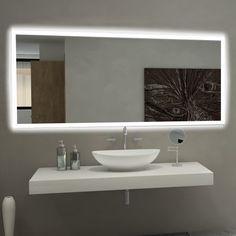 Paris Mirror Rectangle Bathroom Mirror with LED Backlights, Silver Backlit Bathroom Mirror, Vanity Wall Mirror, Led Mirror, Bathroom Lighting, Lighted Mirror, Mirror Glass, White Bathroom Cabinets, Bathroom Layout, Bathroom Interior