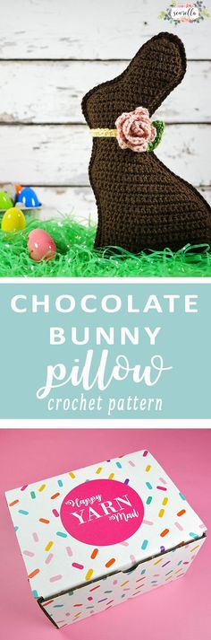 Chocolate Bunny Crochet Pillow was included in March 2017 Happy Yarn Mail subscription box!