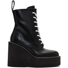 Sacai Black Lace-Up Wedge Boots ($800) ❤ liked on Polyvore featuring shoes, boots, black, laced up boots, lace-up boots, platform wedge shoes, platform wedge boots and lace up platform boots