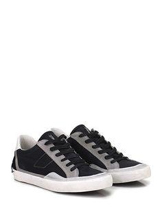 Crime - Sneakers - Uomo - Sneaker in camoscio vintage e tessuto con suola in gomma vintage e tacco 25. - BLACK\GREY - € 97.54