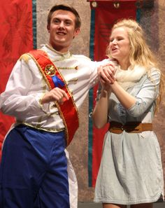 """Prince Charming and Cinderella, portrayed by Sawyer Gogerty and Talia Vespestad, are shown rehearsing for this weekend's Ballard High School Drama Department's production of """"Game of Tiaras."""" Photo courtesy of Mark Benson. http://www.amestrib.com/news/20161109/ballard-hs-fall-play-is-this-weekend"""