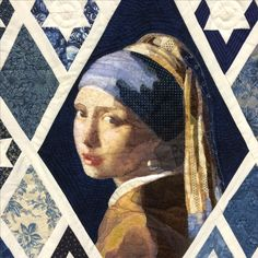 Quilt - Meisje met de parel (Girl with the pearl earring) van Johannes Vermeer