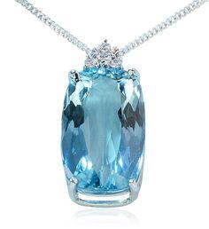 Aquamarin-Anhänger 7, 350ct Aquamarin, Weissgoldkette, Anhänger mit Diamanten