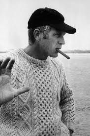 Steve McQueen - ball cap, cable knit and cigar