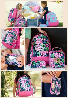Pretty Floral Posie Monogrammed Backpacks Matching Lunchbox