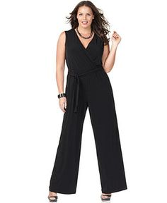 NY Collection Plus Size Jumpsuit, Sleeveless Belted  Web ID: 577123