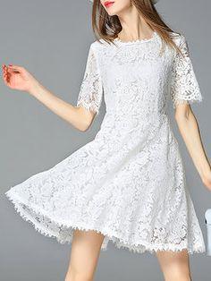 White Lace Short Sleeve Crocheted Crew Neck Mini Dress