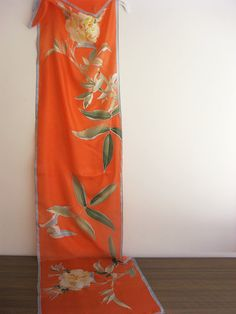 Long silk scarf hand painted botanical wearable art ready to
