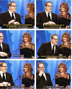 I love the witty and funny bantering between Harvey and Jennifer...like i said she should host Oscars..the girl is naturally funny...no script needed...