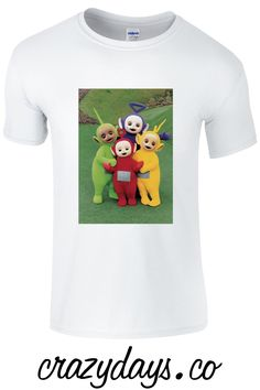 A timeless classic Kids T Shirt available in sizes Sml To XL and in 2 colour options. Each design is printed on a Luxurious Supersoft T Shirt. Tinky-Winky, Dipsy, Laa Laa and Po frolic and play in the idyllic Teletubby land, while a baby's face in a sun coos and laughs. You can find more Childrens T Shirts online at crazydays.co in our Kids T Shirt section PLUS We offer any two T Shirts for £25.00