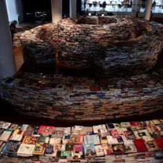 book maze in London in the shape of Jose Luis Borges' fingerprint