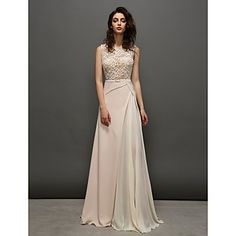 Prom/Formal Evening Dress A-line Jewel Sweep/Brush Train Chiffon/Lace Dress – AUD $ 205.49