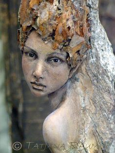 by Tatjana Raum. [Image of Week: Sept - I'm not sure if this is a painting or a sculpture, and if it's a sculpture, then I love the realism of the piece. It seems to me, like a life-sized wood fairy. The realism, makes me question if fairies are real. Sculptures Céramiques, Art Sculpture, Garden Sculpture, Tree People, Nature Spirits, Tree Carving, 3d Studio, Art Graphique, Green Man
