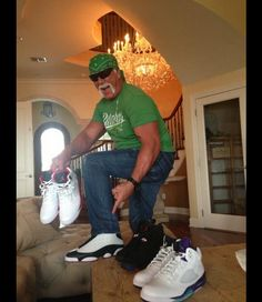 2ed71a495aac66 Hulk Hogan wearing Jordan Retro XIII- He Got Game Celebrity Sneakers