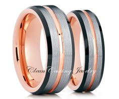 Brushed Rose Gold Tungsten Wedding BandRose by CleanCastingJewelry