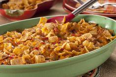 Corn Chip Chicken Casserole | MrFood.com Healthy Potato Recipes, Hot Dog Recipes, Pork Recipes, Mexican Food Recipes, Cooking Recipes, Casseroles Healthy, Hamburger Recipes, Cauliflower Recipes, Quick Casseroles