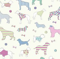 Pastel Dog 100% printed cotton fabric. £7.95/m. #Dog #Fabric #CottonFabric