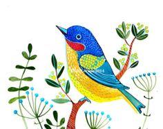 Blue Bird watercolor painting, wall art, room decor, original art