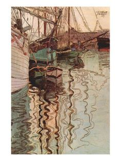 Sailboats In Wollenbewegten Water Egon Schiele