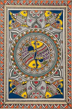 Madhubani Paintings Peacock, Kalamkari Painting, Madhubani Art, Indian Art Paintings, Pichwai Paintings, Abstract Paintings, Abstract Oil, Landscape Paintings, Mandala Design