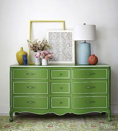 Peppy green paint was only the beginning of this gorgeous dresser makeover. Sure, the enamel semigloss gives it plenty of shine, but what really makes this makeover a winner is the detail work. To replicate the look, paint around the edges of drawer fronts and decorative details with a small paint brush dipped in white enamel paint, or use a paint pen. A steady hand is a must. But you can also use a straight edge or painter's tape to help you out.