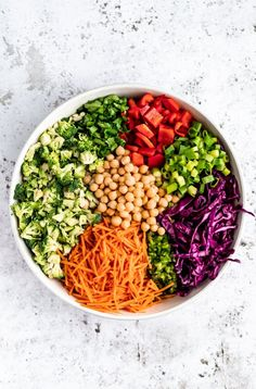 Gorgeous chopped Thai broccoli salad made with colorful veggies like carrot, cabbage and bell pepper. This easy vegan Thai broccoli salad is tossed in a spicy peanut dressing and is packed with delicious, plant based protein thanks to chickpeas! #broccoli #saladrecipe #vegan #veganlunch #vegetarian #glutenfree #mealprep Chickpea Recipes, Healthy Recipes, Delicious Recipes, Amazing Recipes, Spicy Thai, Thai Vegan, Vegan Raw, Plant Based Eating, Salad Ingredients