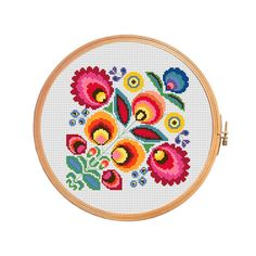 Polish wycinanki flowers - modern cross stitch pattern - pillow flower cross…
