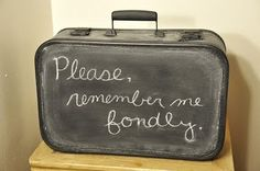 Old suitcase painted with chalkboard paint. Great photo prop idea!