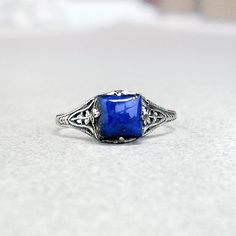 Lapis Lazuli Ring: Sterling Silver Lapis square by GothicGlitter
