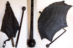 victorian era parasols | Details about Victorian Civil War Pleated Black Silk Ebony Folding ...