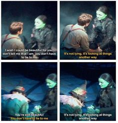 Fiyero and Elphie! I cried when I saw this. It was absolutely one of the mot moving moments I had ever seen in a broadway show. Theatre Nerds, Music Theater, Broadway Theatre, Broadway Shows, Broadway Musicals, Defying Gravity, Dear Evan Hansen, Wizard Of Oz, Look At You