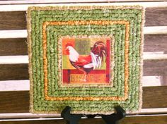 Rooster Trivet, Locker Hooked, Locker Hooking, Upcycled Coaster, Barnyard Animals Trivet, Fabric Trivet, Upcycled Rooster Tile, Table Decor
