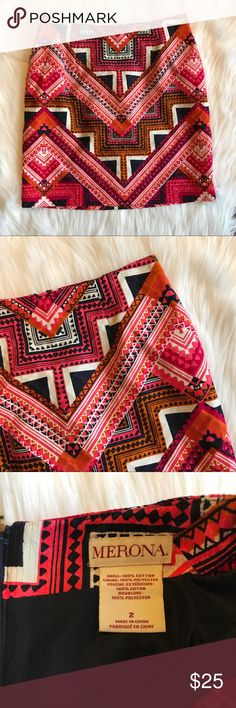Merona Colorful Aztec Printed Pencil Skirt Excellent pre worn condition. Only previously worn once before. All sales final. Merona Skirts Pencil