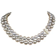 Graff Double Strand Pearls Necklace | From a unique collection of vintage multi-strand necklaces at https://www.1stdibs.com/jewelry/necklaces/multi-strand-necklaces/