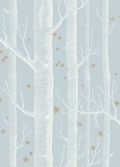 Woods and Stars Powder Blue wallpaper by Cole