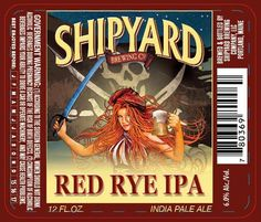 Beer labels on the shelves of your local beer store with redheaded pinups are a dime a dozen, but this illustration of a pirate lass from Shipyard stands out. She's not busting out of her blouse, so that's different. I love her Mucha-inspired tendrils of hair.