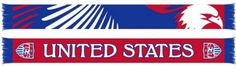 """USA Soccer Ruffneck Red United States Eagle Knit Acrylic Scarf 7"""" x 60"""""""
