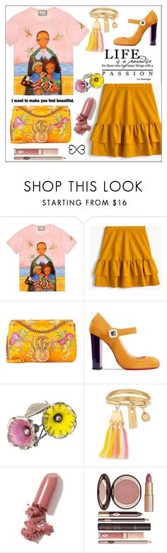 """Life is a Paradise * Feel Beautiful"" by pat912 ❤ liked on Polyvore featuring Gucci, J.Crew, Christian Louboutin, Chloé, LAQA & Co., Charlotte Tilbury, Tattify and polyvoreeditorial"
