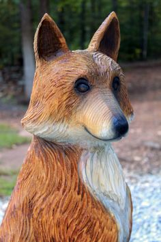 Mark's red fox wood sculptures range from rustic to realistic to cartoon-like. Wood Sculpture, Sculptures, Wood Carvings, Chainsaw Carvings, Saw Wood, Hollow Art, Sleepy Hollow, Red Fox, Tree Art