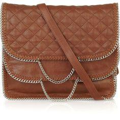 DKNY Quilted-leather chain-trim bag ($145) ❤ liked on Polyvore featuring bags, handbags, shoulder bags, purses, bolsas, borse, crossbody handbag, handbags crossbody, brown shoulder bag and leather purses