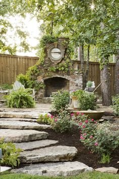 Backyard fireplace ponds Ideas for 2019 Landscape Design, Garden Design, Patio Design, Outdoor Spaces, Outdoor Living, Backyard Fireplace, Outdoor Fireplaces, Small Backyard Design, Garden Planning