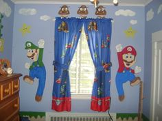 Super Mario Bedroom - Boys' Room Designs - decorating ideas... My brother knows how to draw he needs to get down for his nephew & draw something like this on his wall.
