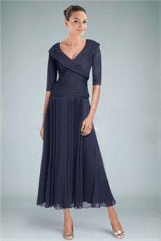 A-Line/Princess V-neck Tea-length Ankle-length Chiffon Mother of the Bride Dress