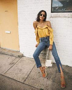 Mustard shirt and cropped denim