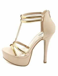 Metallic Plated Double T-Strap Heels  Charlotte Russe Zapatos De Chicas 0669b824dcaf
