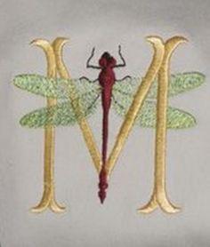 ♈ Dragonfly Versailles ♈ dragonflies in art, photography, jewelry, crafts, home & garden decor - Stitchfork Designs - Dragonfly Monogram