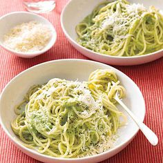 Spaghetti with Creamy Broccoli Pesto is great for kids—especially since they don't have to know it's full of good-for-them broccoli.